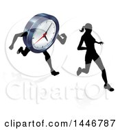 Clipart Of A Silhouetted Woman Running Ahead Of A Clock Character Royalty Free Vector Illustration by AtStockIllustration
