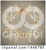 Clipart Of A Fancy Golden Floral Frame Over Tan Royalty Free Vector Illustration by KJ Pargeter