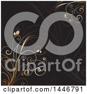 Clipart Of A Black Background With Gran And Gold Vines Royalty Free Vector Illustration