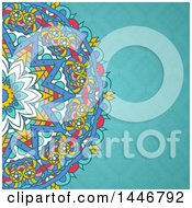 Clipart Of A Colorful Mandala Over A Blue Floral Pattern Royalty Free Vector Illustration