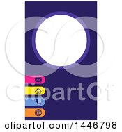 Clipart Of A Business Card Design With A Circle And Information Icons Over Blue Royalty Free Vector Illustration