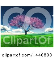 Poster, Art Print Of 3d Blossoming Cherry Tree On A Hill In A Spring Landscape