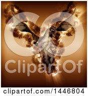Clipart Of A 3d Flying Flaming Dragon Royalty Free Illustration by KJ Pargeter