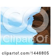 Clipart Of A 3d Woman Diving Off Of A Coast Cliff Into The Ocean Royalty Free Illustration