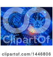 Clipart Of A 3d Scientific Medical Background Of Dna Strands And Virus Cells Royalty Free Illustration