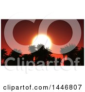 3d Red Sunset Behind Silhouetted Tops Of Palm Trees