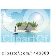 Clipart Of A 3d Yacht Sailing To A Jetty On A Tropical Island Royalty Free Illustration