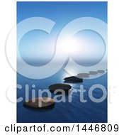 Clipart Of A Line Of 3d Stepping Stones On The Ocean Royalty Free Illustration by KJ Pargeter