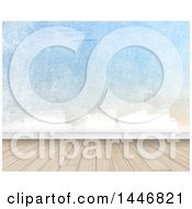 Clipart Of A Partially Painted Wall And Wood Floor Backdrop Royalty Free Illustration