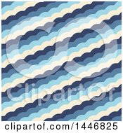 Clipart Of A Background Of Layered Scalloped Waves Royalty Free Vector Illustration