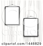 Clipart Of A White Wood Wall With Blank Picture Frames Royalty Free Vector Illustration