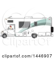 Cartoon White Man Backing Up A Class C Motorhome