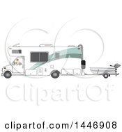 Cartoon White Man Backing Up A Class C Motorhome And Towing A Boat