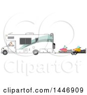 Cartoon White Man Backing Up A Class C Motorhome And Towing Snowmobiles