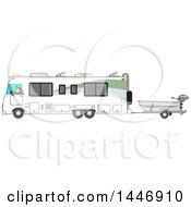 Cartoon White Man Driving A Motorhome And Towing A Fishing Boat