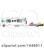 Poster, Art Print Of Clipart Of A  Cartoon White Man Driving A Motorhome And Towing Snowmobiles Royalty Free Vector Illustration