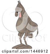 Poster, Art Print Of Cartoon Tired Dog Standing Upright With His Tongue Hanging Out