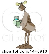 Clipart Of A Cartoon Moose Pouring A Drink From A Pitcher Royalty Free Vector Illustration