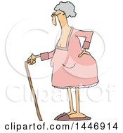 Cartoon Old White Lady Standing With A Cane Holding Her Back