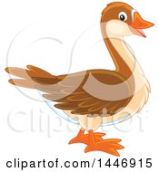 Clipart Of A Cute Brown Goose Royalty Free Vector Illustration by Alex Bannykh