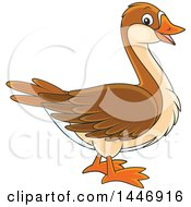 Clipart Of A Cartoon Brown Goose Royalty Free Vector Illustration