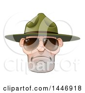 Poster, Art Print Of Mad Caucasian Male Army Boot Camp Drill Sergeant Face With Sunglasses