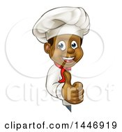 Cartoon Happy Black Male Chef Giving A Thumb Up Around A Sign