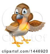 Clipart Of A Robin Bird Presenting To The Right Royalty Free Vector Illustration by AtStockIllustration