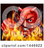 Clipart Of A Grinning Red Devil Emerging From Flames And Pointing Outwards Royalty Free Vector Illustration