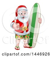 Clipart Of A Thumb Up Summer Santa Claus With Shorts Sandals And A Surf Board Royalty Free Vector Illustration