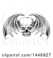 Black And White Woodcut Etched Or Engraved Bat Or Dragon Winged Skull