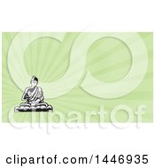 Clipart Of A Black And White Retro Woodcut Buddha Sitting In The Lotus Position And Green Rays Background Or Business Card Design Royalty Free Illustration