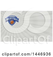 Poster, Art Print Of Retro Basketball Shield Design And Gray Rays Background Or Business Card Design