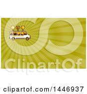 Clipart Of A Retro Brew Tour Bus With Glasses On The Roof And A City Skyline In The Windows And Green Rays Background Or Business Card Design Royalty Free Illustration