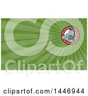 Clipart Of A Retro Cartoon Army Sergeant Donkey Holding A Cup Of Coffee On A Saucer In A Circle Of Stars And Green Rays Background Or Business Card Design Royalty Free Illustration by patrimonio