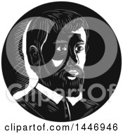 Clipart Of A Retro Engraved Or Woodcut Styled Bust Portrait Of Hernando De Soto Spanish Explorer In Black And White Royalty Free Vector Illustration