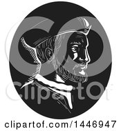 Clipart Of A Retro Engraved Or Woodcut Styled Bust Portrait Of Jacques Cartier French Explorer In Black And White Royalty Free Vector Illustration