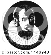 Clipart Of A Retro Engraved Or Woodcut Styled Bust Of Henry Hudson In Black And White Royalty Free Vector Illustration