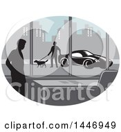 Clipart Of A Retro Woodcut Styled Silhouetted Man In An Office Building And Person Walking A Dog By A Car Outside In A City Royalty Free Vector Illustration