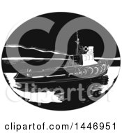 Retro Engraved Or Woodcut Styled River Tugboat In Black And White