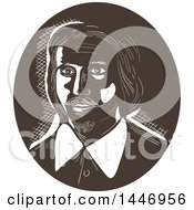 Clipart Of A Retro Engraved Or Woodcut Styled Bust Of A 16th Century Poet Royalty Free Vector Illustration
