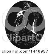 Clipart Of A Retro Engraved Or Woodcut Styled Profile Bust Portrait Of Vasco Nunez De Balboa Spanish Explorer In A Black And White Royalty Free Vector Illustration by patrimonio