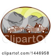 Retro Woodcut Styled Man Towing Away A Family Car In An Oval With Mountains