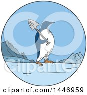 Clipart Of A Sketched Mono Line Styled Emperor Penguin Carrying A Shovel In A Circle Royalty Free Vector Illustration