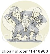 Clipart Of A Sketched Political Cartoon Of Two Puppeteers Fighting And Wrestling Control Over One Puppet Royalty Free Vector Illustration