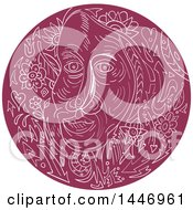 Clipart Of A Sketched Mandala Styled Old Womans Face Royalty Free Vector Illustration