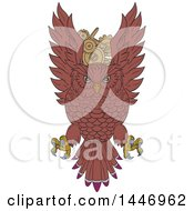 Clipart Of A Sketched Drawing Styled Swooping Owl Over Gear Cog Wheels Royalty Free Vector Illustration