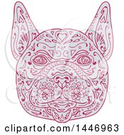 Clipart Of A Sketched Mandala Styled French Bulldog Face Royalty Free Vector Illustration