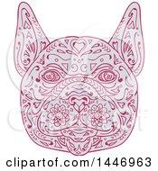 Poster, Art Print Of Sketched Mandala Styled French Bulldog Face