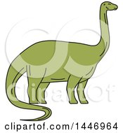 Clipart Of A Sketched Mono Line Styled Brontosaurus Dinosaur Royalty Free Vector Illustration